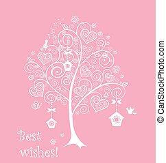 lacy, árvore, cartão cumprimento