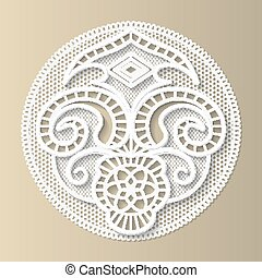 Lacy design element, the European medieval pattern,floral ornament, paper doily, 3D, vector EPS10.