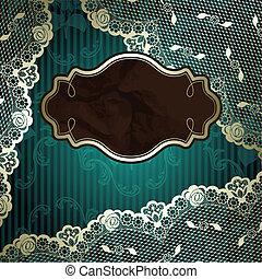 Lacy design on green background - French lace design with...