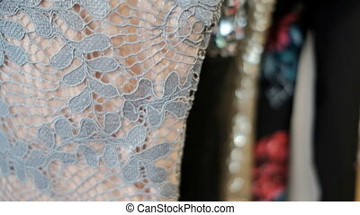 lacy dress product sewn from lace of manual machine work
