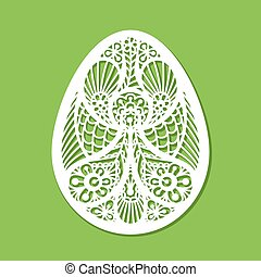 Lacy Easter egg vector art on green background