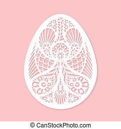 Lacy Easter egg vector art on pink background