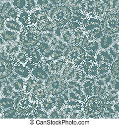 lacy floral dotted seamless vector pattern in teal colors