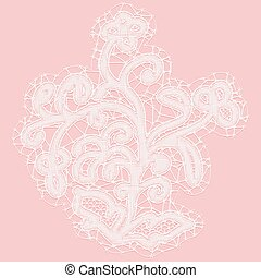 Lacy flower with openwork leaves. Decorative design element on a pink background. Vector illustration.