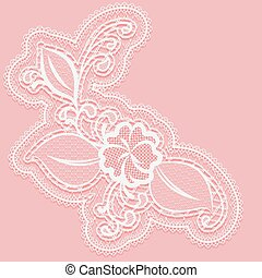 Lacy flower with openwork leaves. Decorative design element on a pink background.