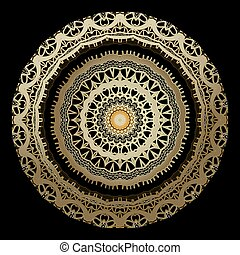 Lacy gold floral 3d vector mandala pattern. Ornamental modern background. Round vintage ornament. Lace design. Surface golden patterned texture. Ethnic style gold abstract flowers,shapes, frames