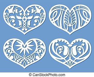 Lacy hearts, laser cutting fretwork shapes, plotter cutout love vector symbols