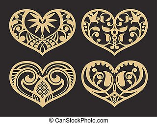 Lacy hearts, paper shapes love vector symbols