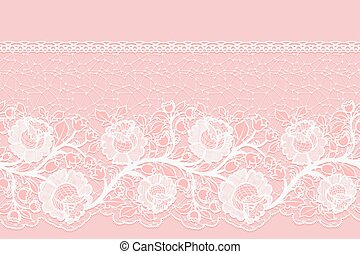 Lacy horizontal seamless single-sided ribbon with embroidered roses. White lace on a pink background.