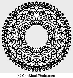 Lacy mandala. Delicate round doily. Black silhouette on a light background.