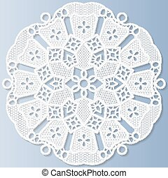 Lacy paper doily, decorative flower, mandala,   3D, vector