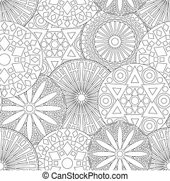 Lacy seamless floral pattern in black and white - Lacy...