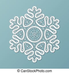 Lacy snowflake ornament - White lace snowflake, embossed...