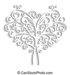 lacy tree in the form of heart
