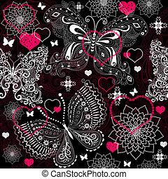 lacy, valentine, seamless, padrão