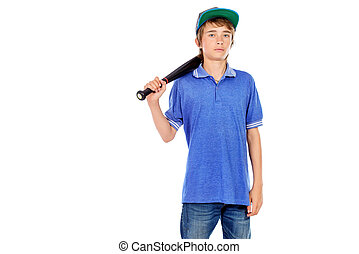 lad with baseball bat - Portrait of a boy teenager holding ...