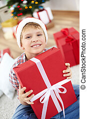 Lad with giftbox