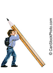 lad with pencil