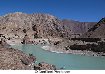 ladakh, indie, himalayas., krajobraz, himalajski