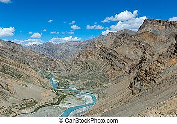 ladakh, rivier, india., vallei, tsarap