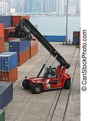 ladda, aktivitet, hos, a, behållare, hamn, in, hongkong