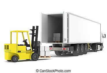 ladda, den, truck., gaffeltruck, ladda, a, trailer., del av,...