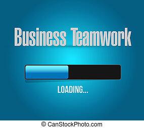 ladda, hinder, affär, underteckna, begrepp,  Teamwork