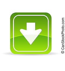 ladda ner, grön, ikon