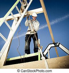ladder, aannemer, authentiek, haak