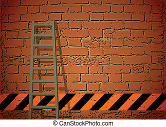 Ladder Against Brick Wall. Vector illustration - old wooden...