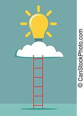 Ladder and cloud with idea light bulb. Success concept.