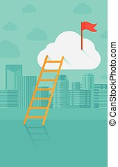 Ladder and flag on top of the cloud on city background.
