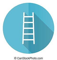 Ladder blue round flat design vector icon isolated on white background, step, climb, tool, level illustration in eps 10