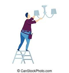 ladder., caricatura, ilustración, casa casa, character., color, tipo, aislado, vector, bulb., reemplazar, reparación, handyworker, plano, maintenance., cambiar, hombre, bombilla, faceless, luz, herramientas