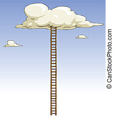 Ladder - Cartoon ladder to the clouds, vector illustration