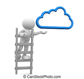 Ladder - 3d people - man, person with a ladder and cloud....