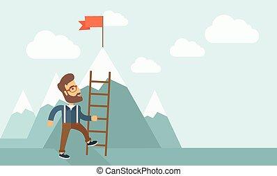 ladder., człowiek