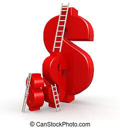 ladder, dollar, rood, tekens & borden