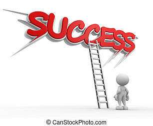 Ladder - 3d people - man, people with a ladder. Successful...