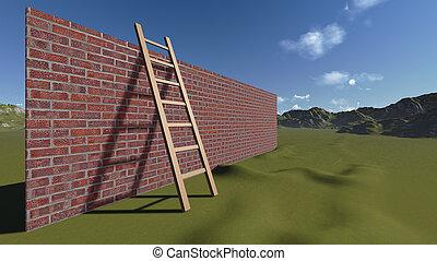 ladder, en, muur