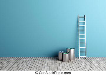 ladder, en, verf , emmers, door, de muur