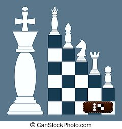 ladder Flat Design Chess Figures. from a pawn to a queen