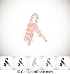 Ladder. Flat sticker with shadow on white background