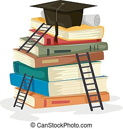 Ladder Graduation Books Illustration