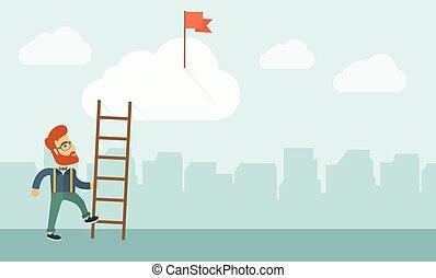 ladder., homem