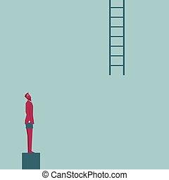 ladder., homme affaires, isolé, haut, bleu, regarde, arrière-plan.