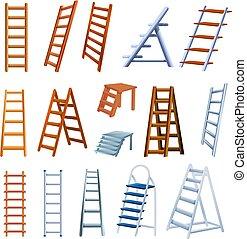 Ladder icons set, cartoon style