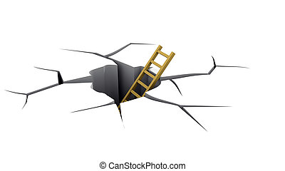 Ladder in a crevice, an exit from a hole. A rescue concept from a dangerous situation.