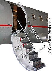 ladder in a private jet