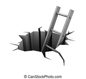 ladder in hole - 3d illustration of ladder in hole over...